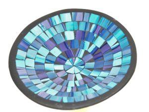 schaal aardewerk, glasmozaiek