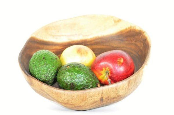fruitschaal, slaschaal, houten schaal, kinta schaal