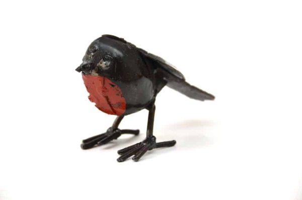 gerecycled metaal - roodborstje beeld - vogel beeld