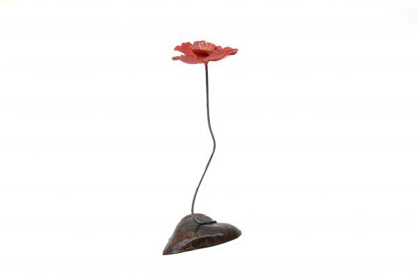 metal art roos, klaproos, roos beeld