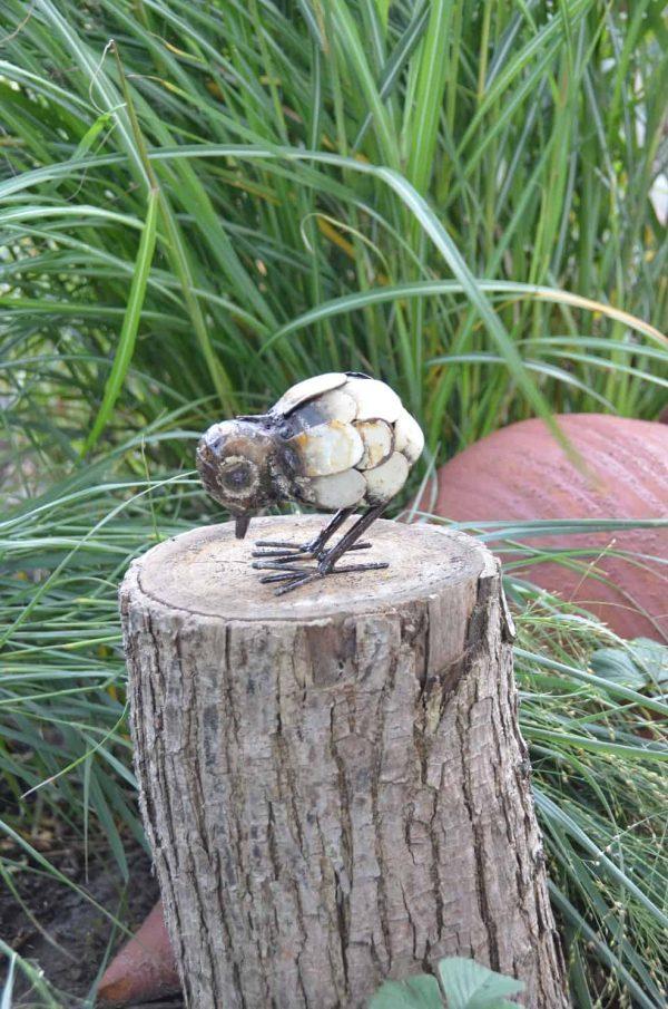 metal art, kuiken, struisvogel kuiken, beeld kuiken