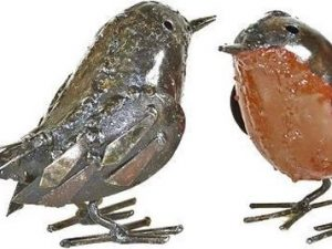 roodborstje, gerecycled metaal vogeltje, vogel ijzer