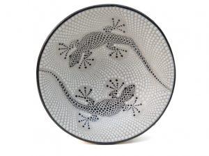 fruitschaal, fruitschaal gekko, schaal aardewerk