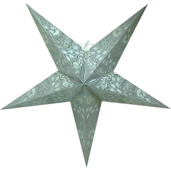 kerstster, papieren ster met tekening in zilver wit