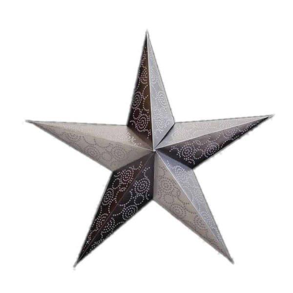 kerstster, papieren ster in zilverkleur