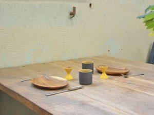 eierdopje hout mosterdgeel