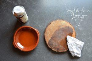 houten servies met olie oppoetsen