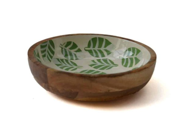 houten schaal groen wit