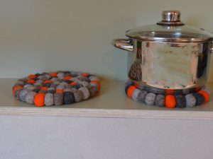 onderzetter vilt rond oranje grijs