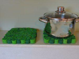 tafelonderzetter pan groen vilt
