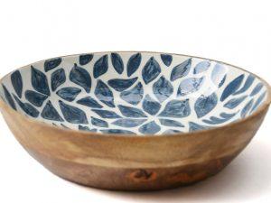 houten schaal blauw wit