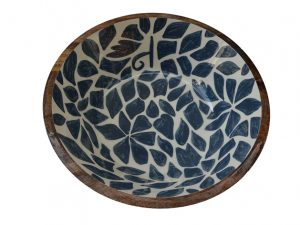 fruitschaal hout blauw wit