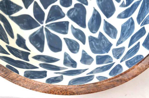houten saladeschaal blauw wit