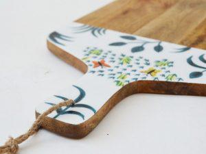 houten snijplank handgeschilderd vlinders