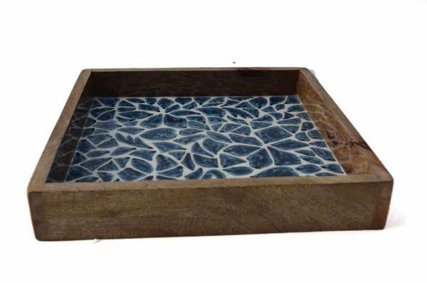 houten dienblad blauw wit