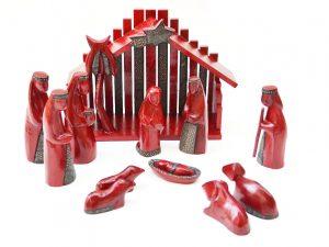 kerststal hout rood fairtrade